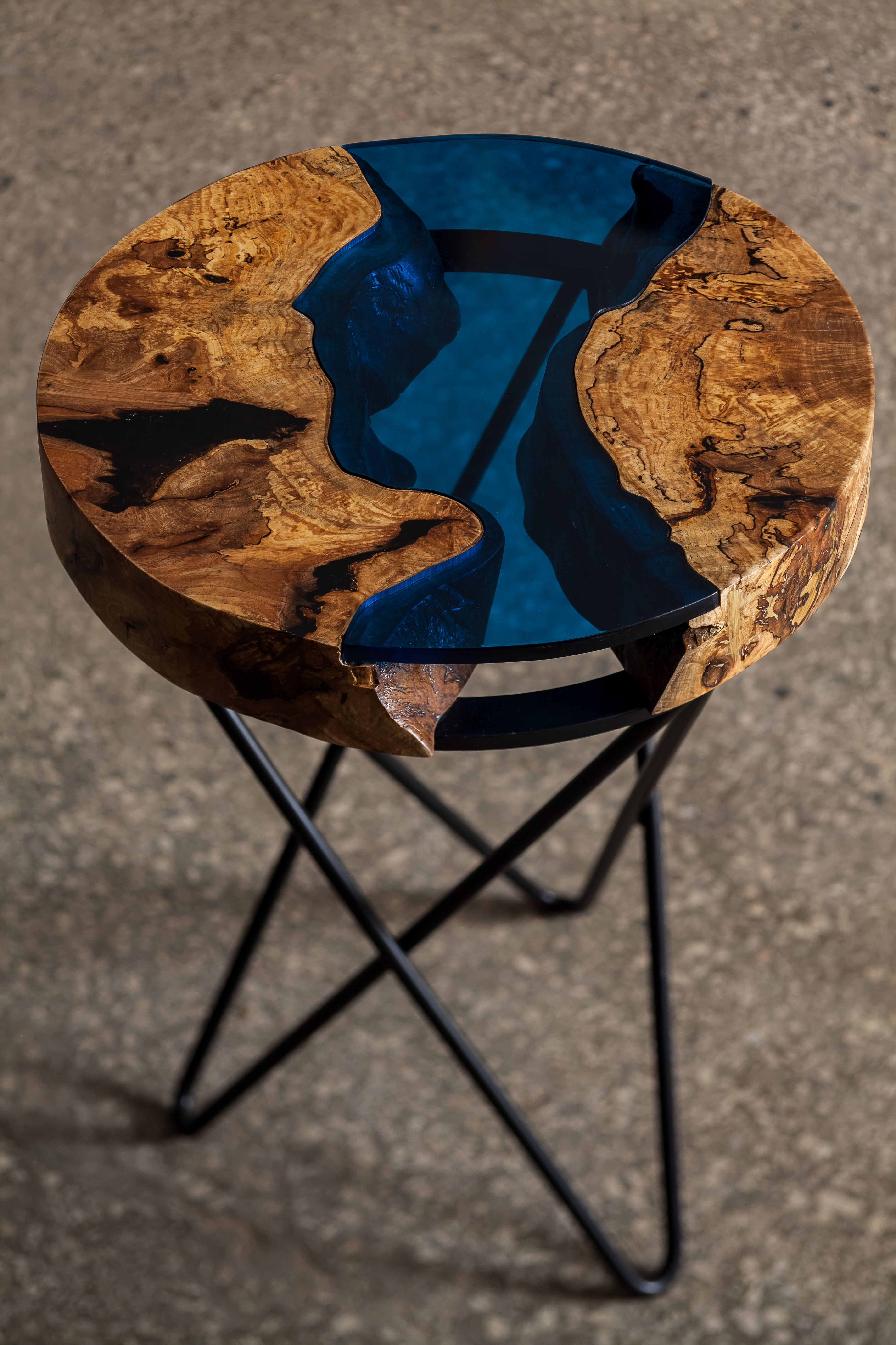 Aqua side table made from ash tree and blue acrylic cracks