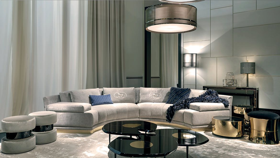 Fendi casa borromini sofa eos armchairs constellation coffee table at maison objet 2015