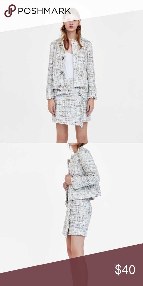 e2765a68 {ZARA} Multi-colored Tweed Mini Skirt Never worn perfect condition Zara  Skirts Mini