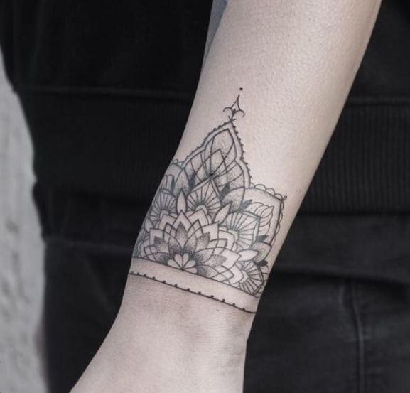 tatuaggio,braccialetto,mandala,sul,polso