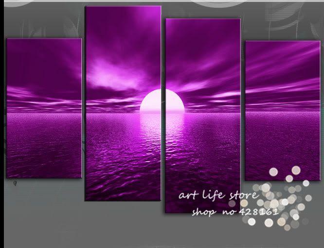 4 panneau mural art paysage coucher de soleil violet photo peinture
