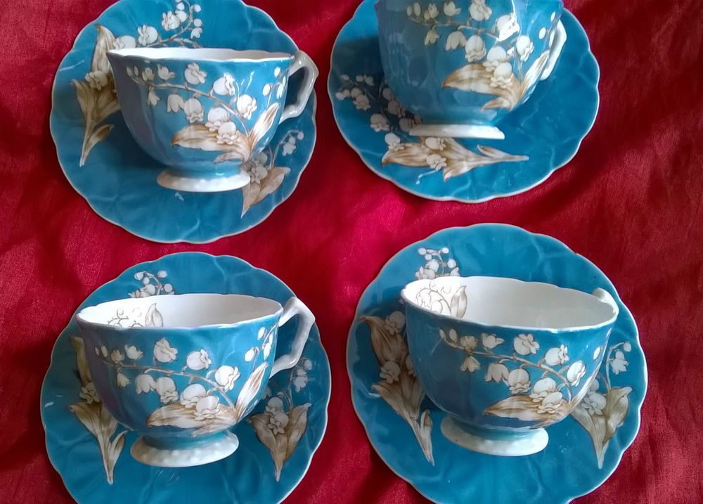 Set of Four Aynsley Tea Cups and Saucers Reg No 765788 in Turquoise   eBay