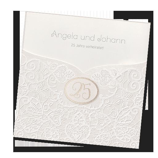 Elegante Einladungskarte zur Silberhochzeit online bestellen