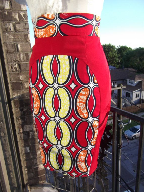 High Waist Red Yellow Orange And Ivory African Print
