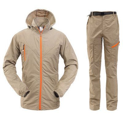 Outdoor Quick Dry Breathable Clothing Set Men Women Spring Summer 2 Pieces Sports Jackets Pants