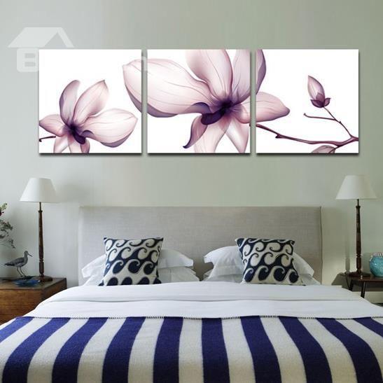 New Arrival Beautiful Light Purple Flower Print 3 Piece Cross Film Wall Art Prints Home Decor Living Room Paint Living Room Art