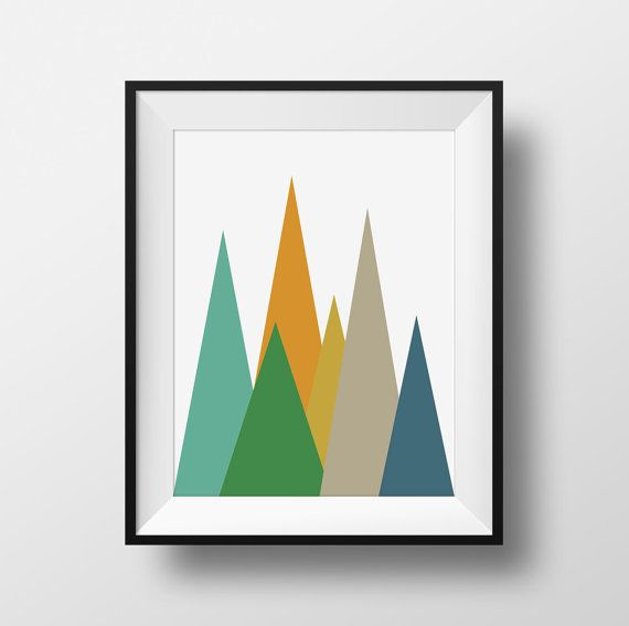 Mountains Mid Century Modern Wall Art Green and Yellow Retro Print Midcentury Poster Abstract Triangles Danish Modern Abstract Print  sc 1 st  Pinterest & Mountains Mid Century Modern Wall Art Green and Yellow Retro Print ...