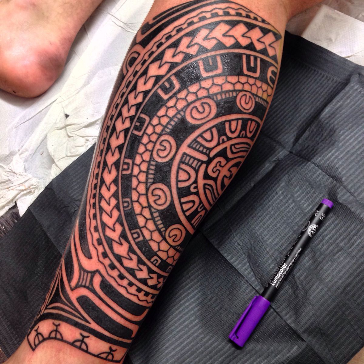 Cover up tattoo ideas for calf marquesan freehand calf piece finished last week  tattoo marquesan