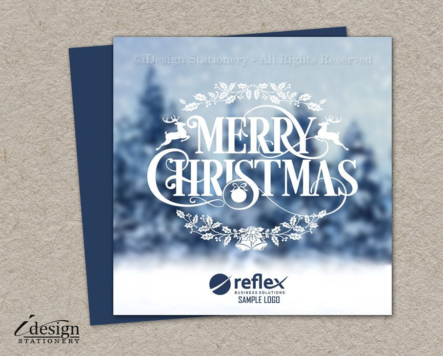 free ecard christmas party invitations%0A Winter Scene Business Christmas Cards With Logo