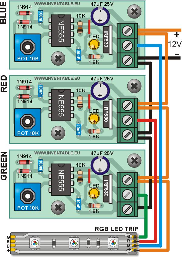 Regulador para tiras de leds con 555 inventable alvaro for Regulador para led