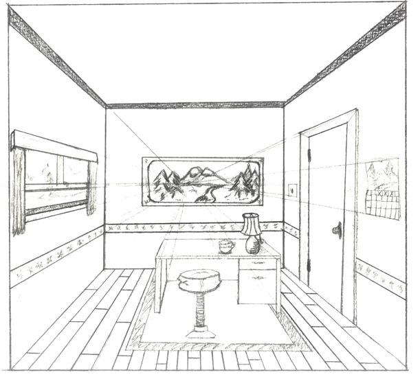One Point Perspective Interior One Point Perspective Room Perspective Room One Point Perspective