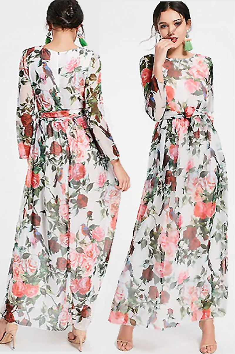 0a56e89bfd6e This maxi floral pattern #MaxiDress is a cute idea as a summer wedding  guest outfit or other special occasion dress. The red and pink roses  pattern gives it ...