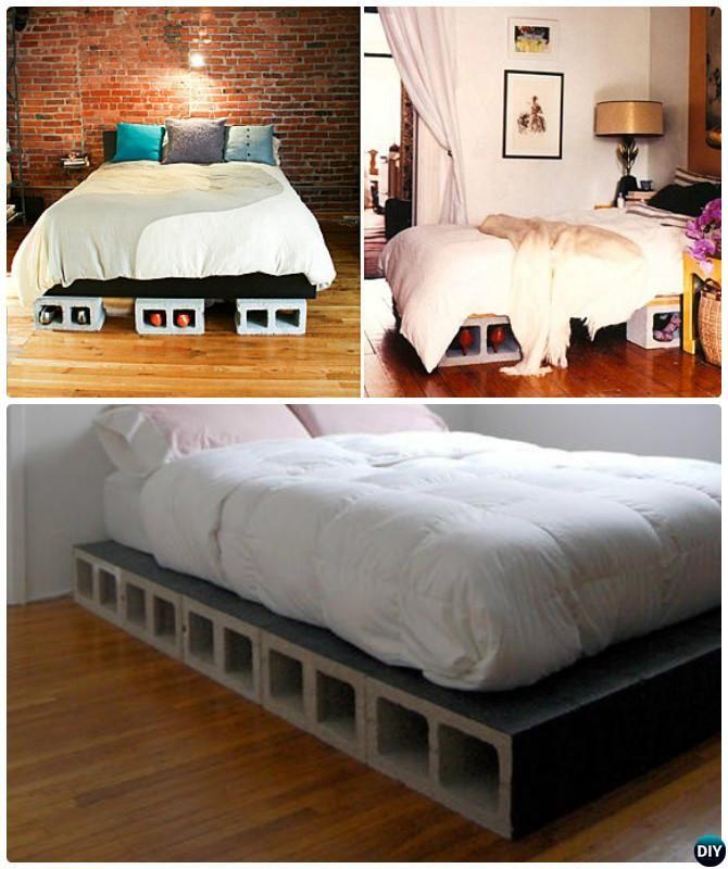 DIY Cinder Block Platform Bed 10 Concrete Home Decorating Projects