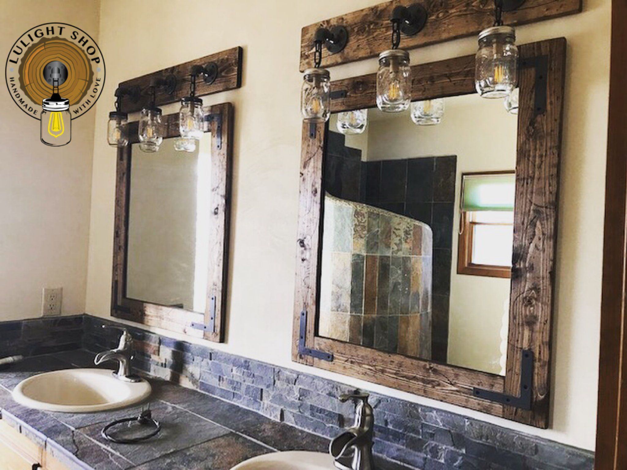 Rustic Distressed Mirror With Oil Rubbed Bronze Corner Brackets