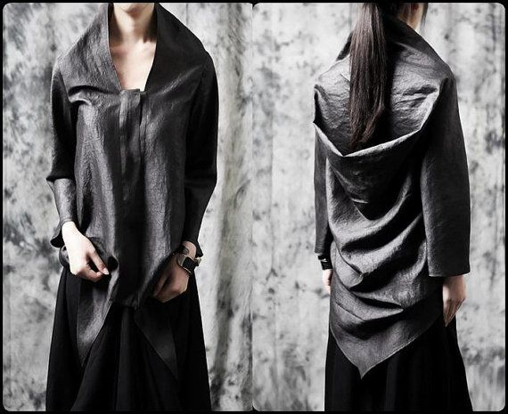 Ofelya Original Design Twilight / Faux Leather Drape Cut Shirt
