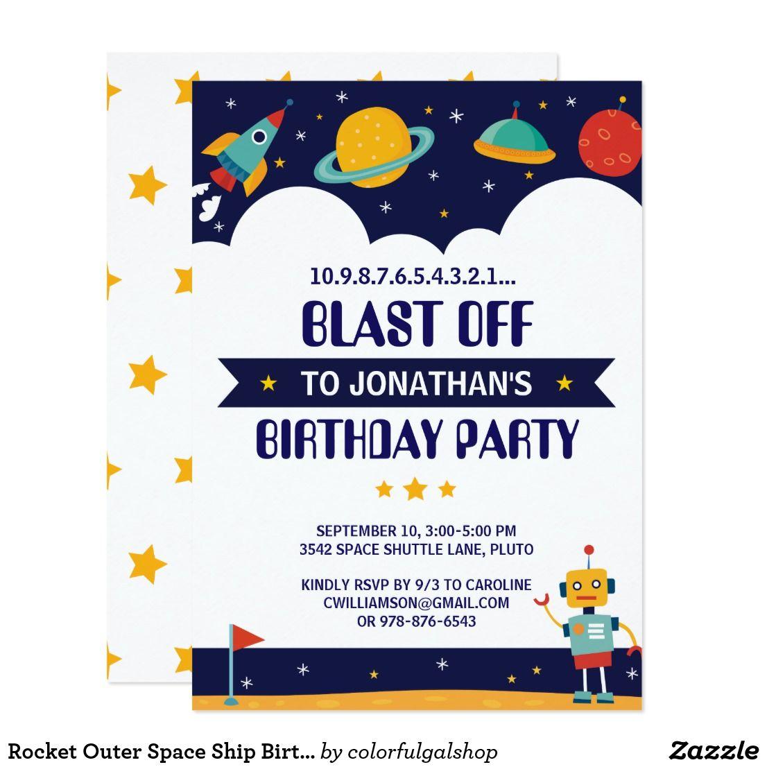 Rocket Outer Space Ship Birthday Party Invitation | { Happy Birthday ...