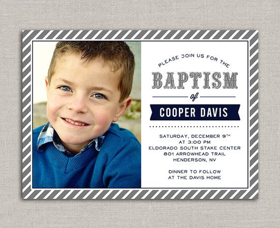 LDS Baptism Invitation Cooper by announcingyou on Etsy
