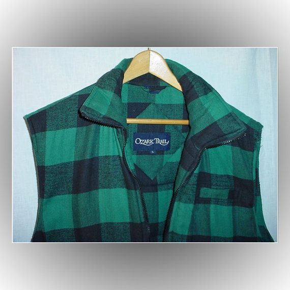 e8fa840142 Ozark Trail Buffalo Plaid Lumberjack Vest Green Black XL 1980s ...