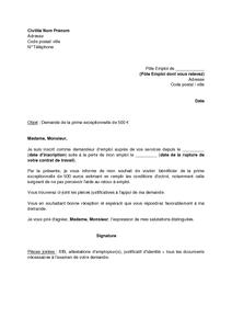Lettre De Demande De La Prime Exceptionnelle De 500 Euros Au