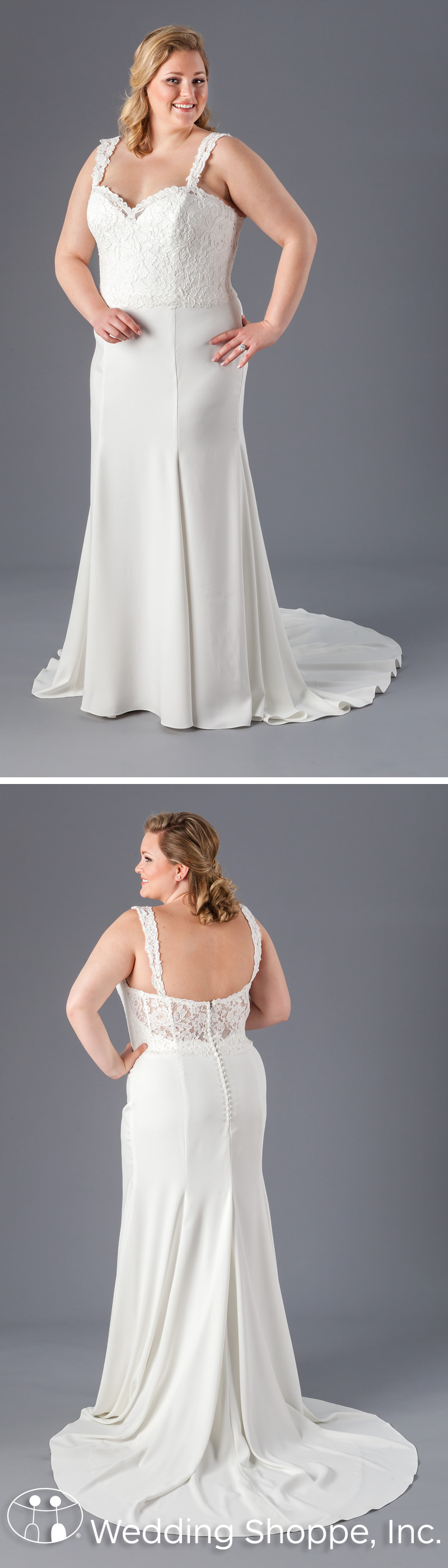 This fitandflare plus size bridal gown features a detailed lace