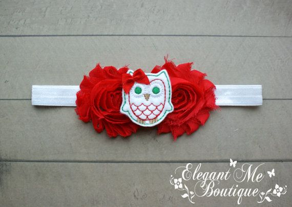 Christmas Owl Headband Christmas Headband Red by ElegantMeBoutique