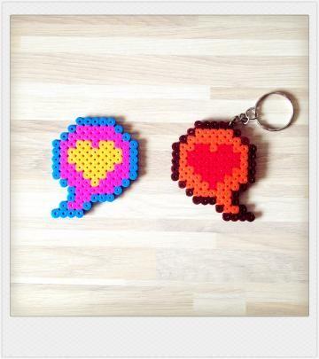 Pyssla bead love bubble charm