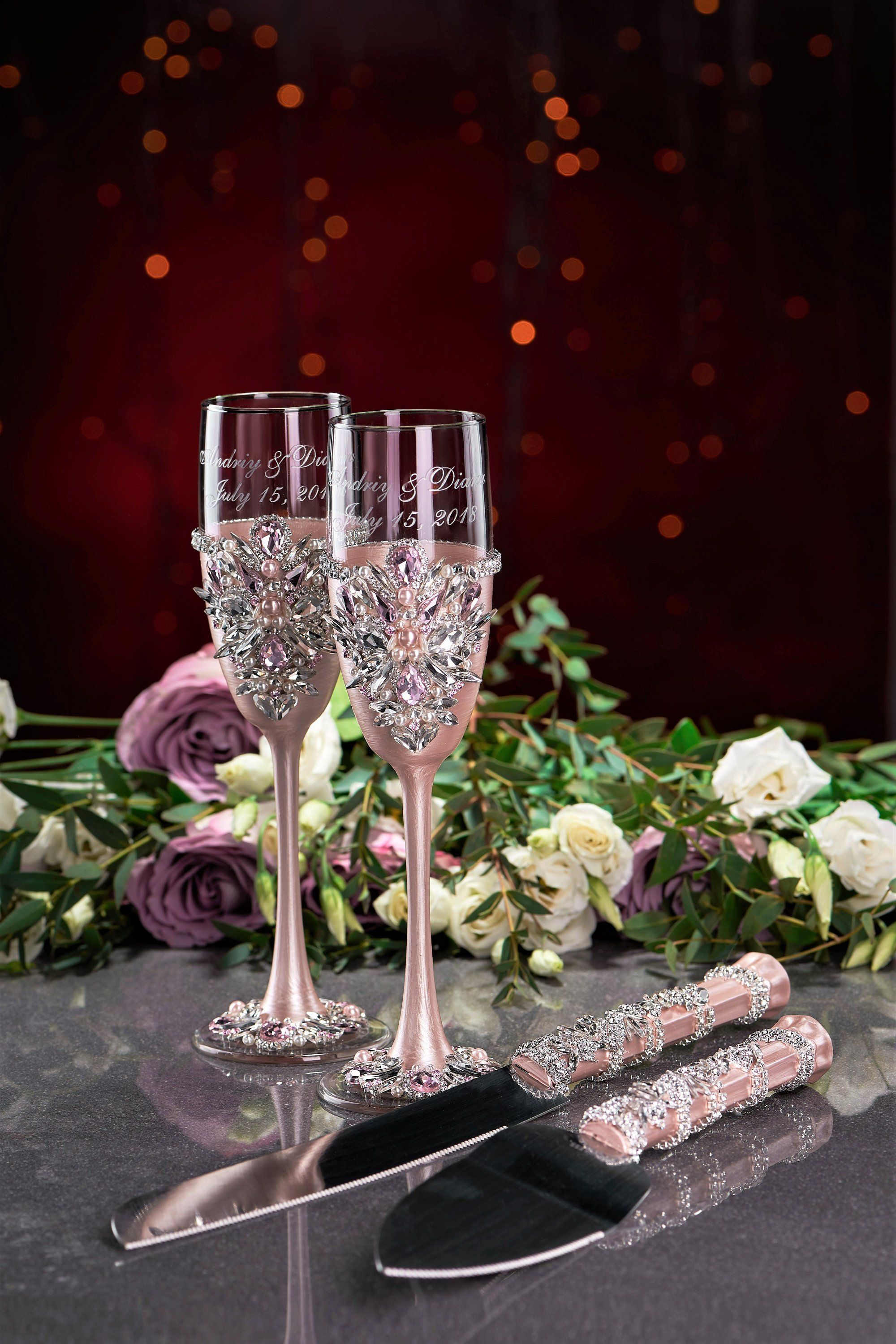 Wedding glasses and cake server plate and forks Unity