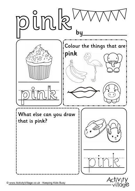 Pink colour worksheet Color worksheets for preschool