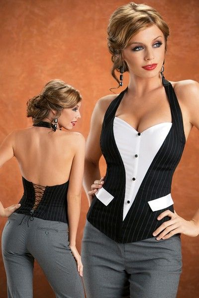 3aa5491ad2 A creative tuxedo vest inspired corset. Pinstripe cotton with button front  and accent pocket makes this corset a great addition to any women wardrobe.