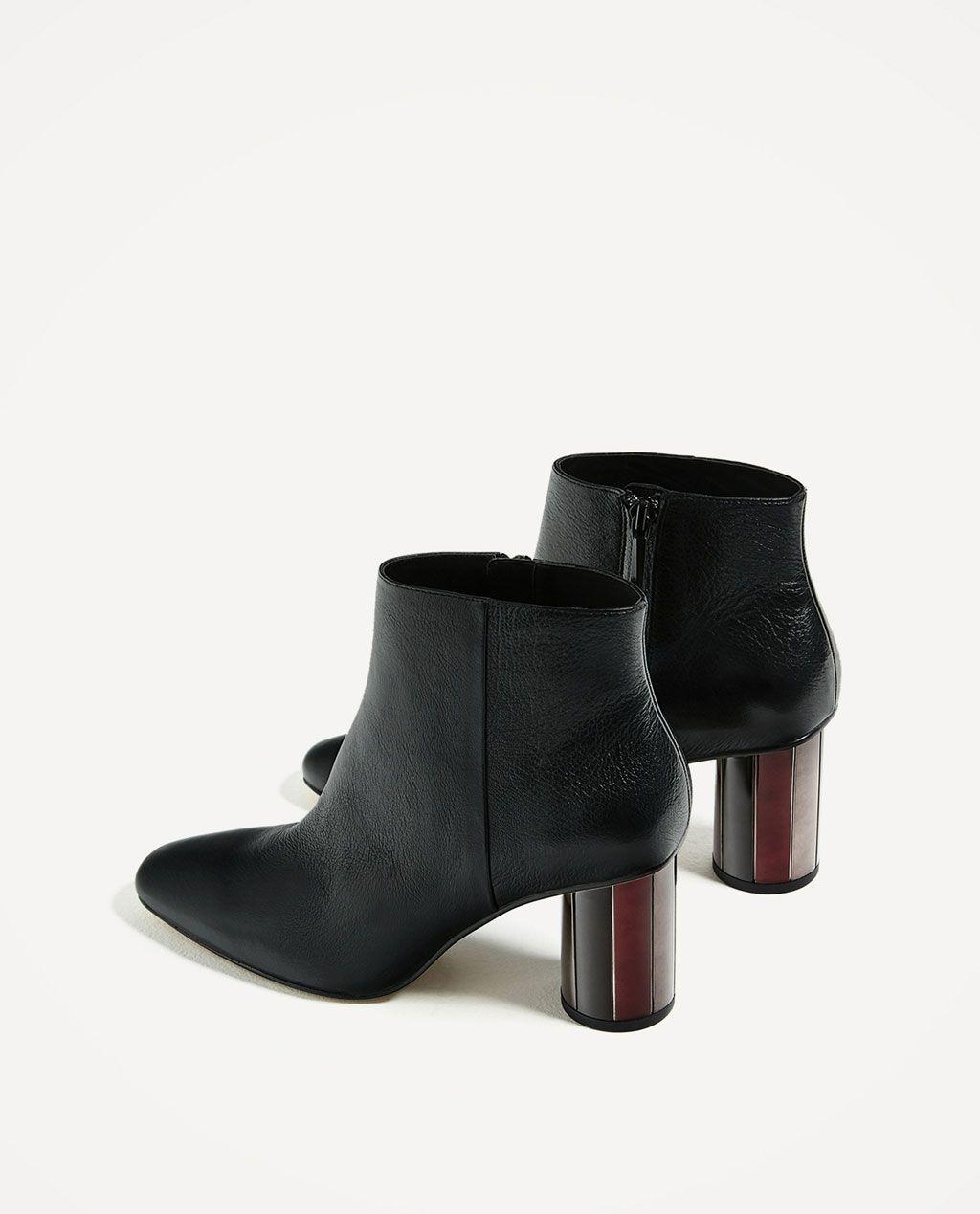 Más popular Mujer Zapatos Zara Botín negro piel efecto