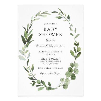 Photo of Eucalyptus Wreath Baby Shower Invitation | Zazzle.com
