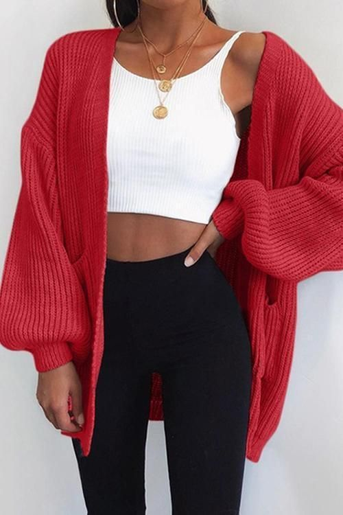 Puff Sleeve Bat Loose Cardigan