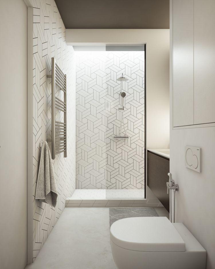 Weiss Grau Beige Badezimmer Dusche Klein Funktional #dream #house