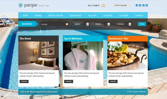 Parque – Hotel/Resort Responsive HTML template | Website Templates ...
