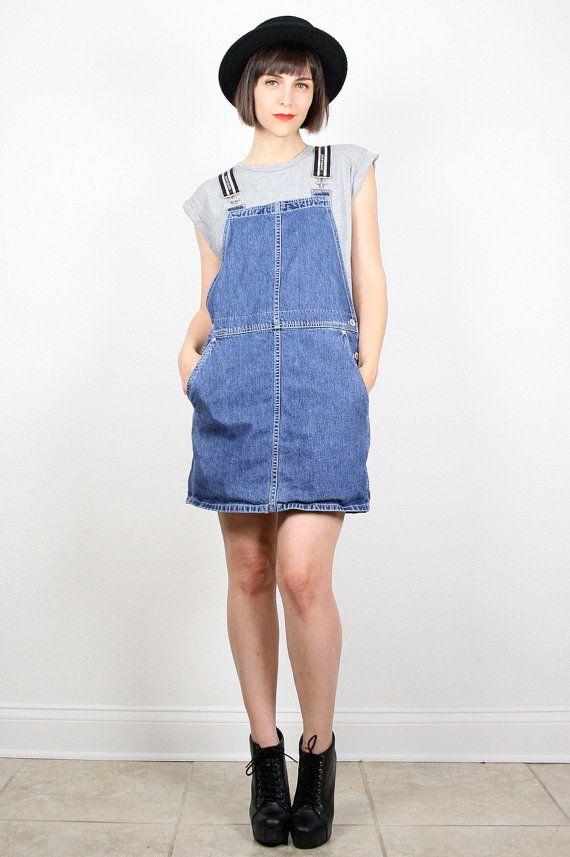 babcaa54e6 Vintage DKNY Overalls Dress Denim Overall Jumper Blue Jean Jumper Pinafore  Grunge Mini Dress Hipe Hop