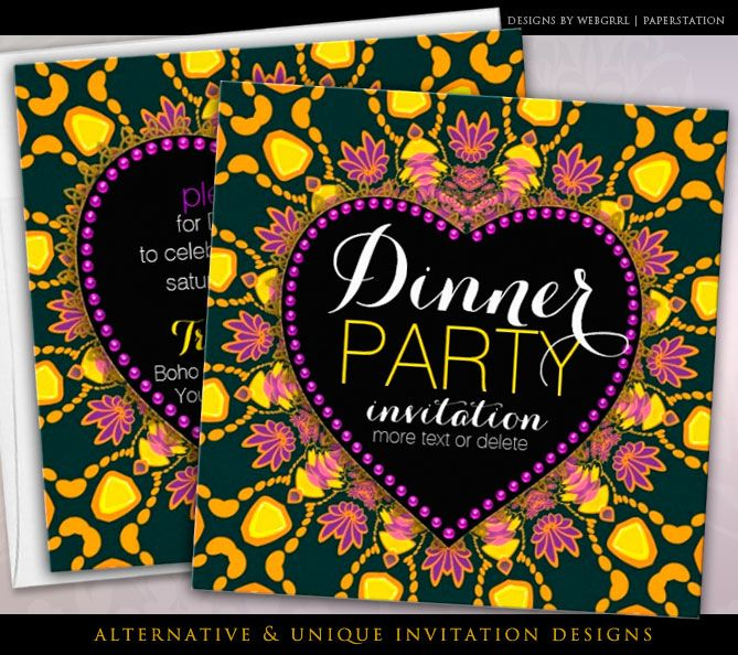 Tropical Hippie Love Batik Dinner Party customizable Invitations