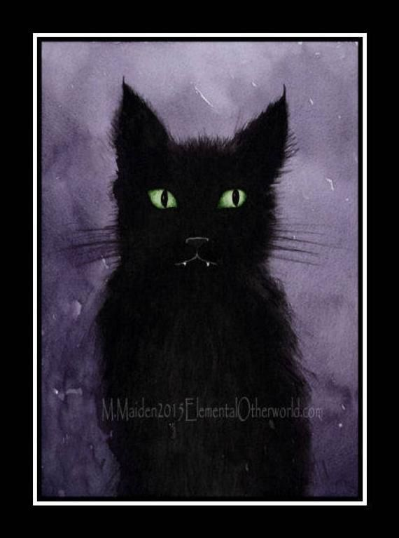 BLACK CAT CARD, cat birthday card, cute cat notecard, fluffy kitten, kitten notelet blank inside, cu #fluffykittens