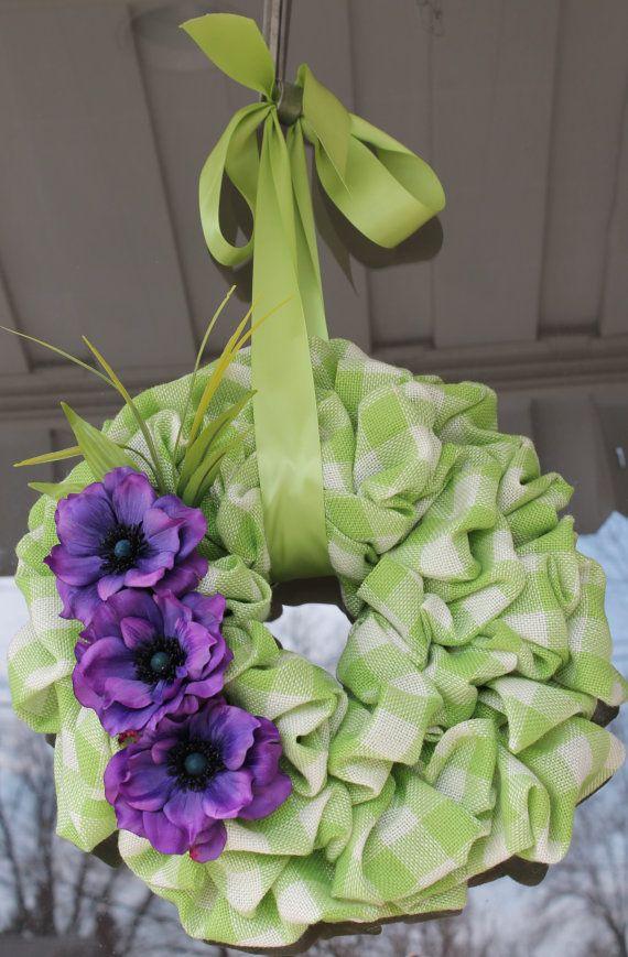 Burlap Wreath Spring Wreath Wreath by IndigoGem on Etsy
