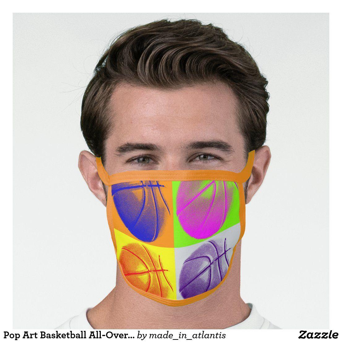 Pop Art Basketball AllOver Print Face Mask