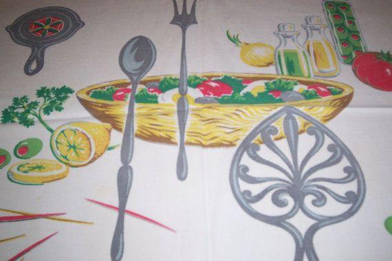 Wilendur salad bowl vintage tablecloth