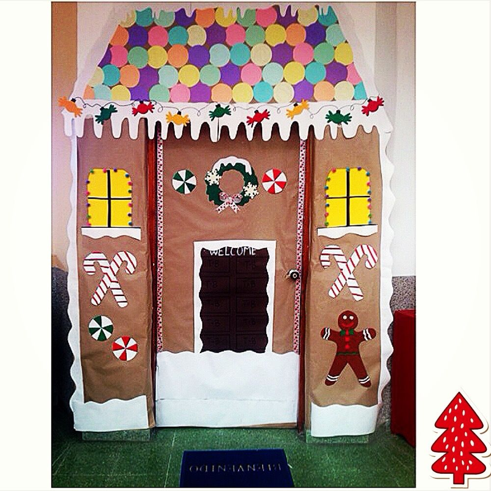 Board Decoration For Christmas: Gingerbread House Classroom Door Christmas Classroom Door