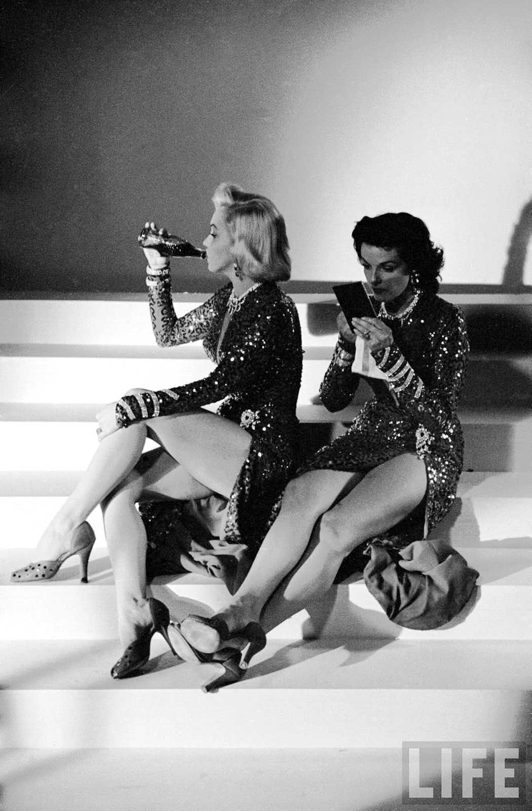 "Marilyn Monroe and Jane Russell between takes on the set of ""Gentleman Prefer Blondes"" 1953 by Margaret Bourke-White"