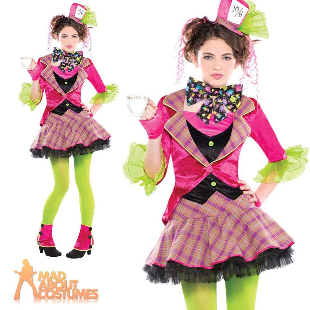 Teen Mad Hatter Costume Girls Alice Tea Party Halloween Kids Fancy ...