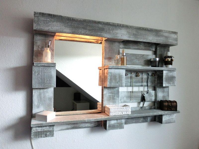Stylingwandregal Mit Spiegel Und Beleuchtung Von Paletino Auf