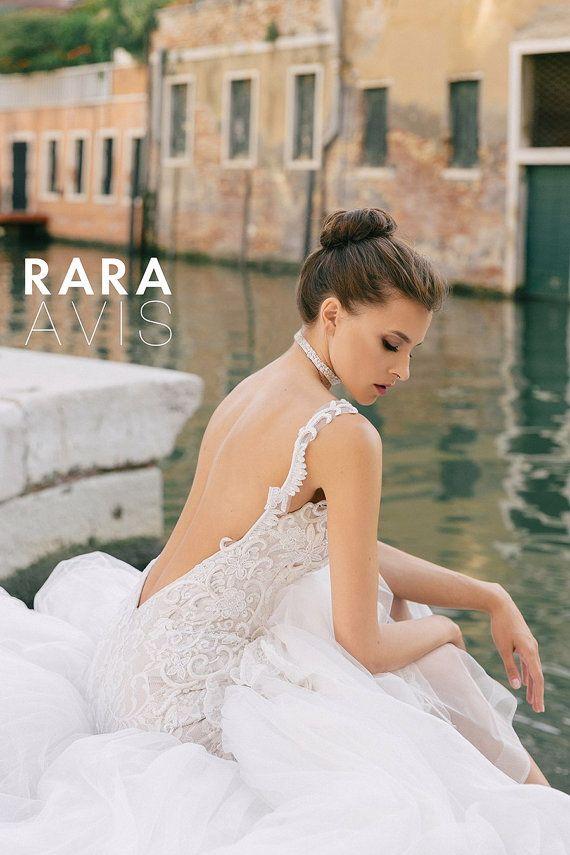 Lace wedding dress, GOLD, Open back, open back dress, backless ...
