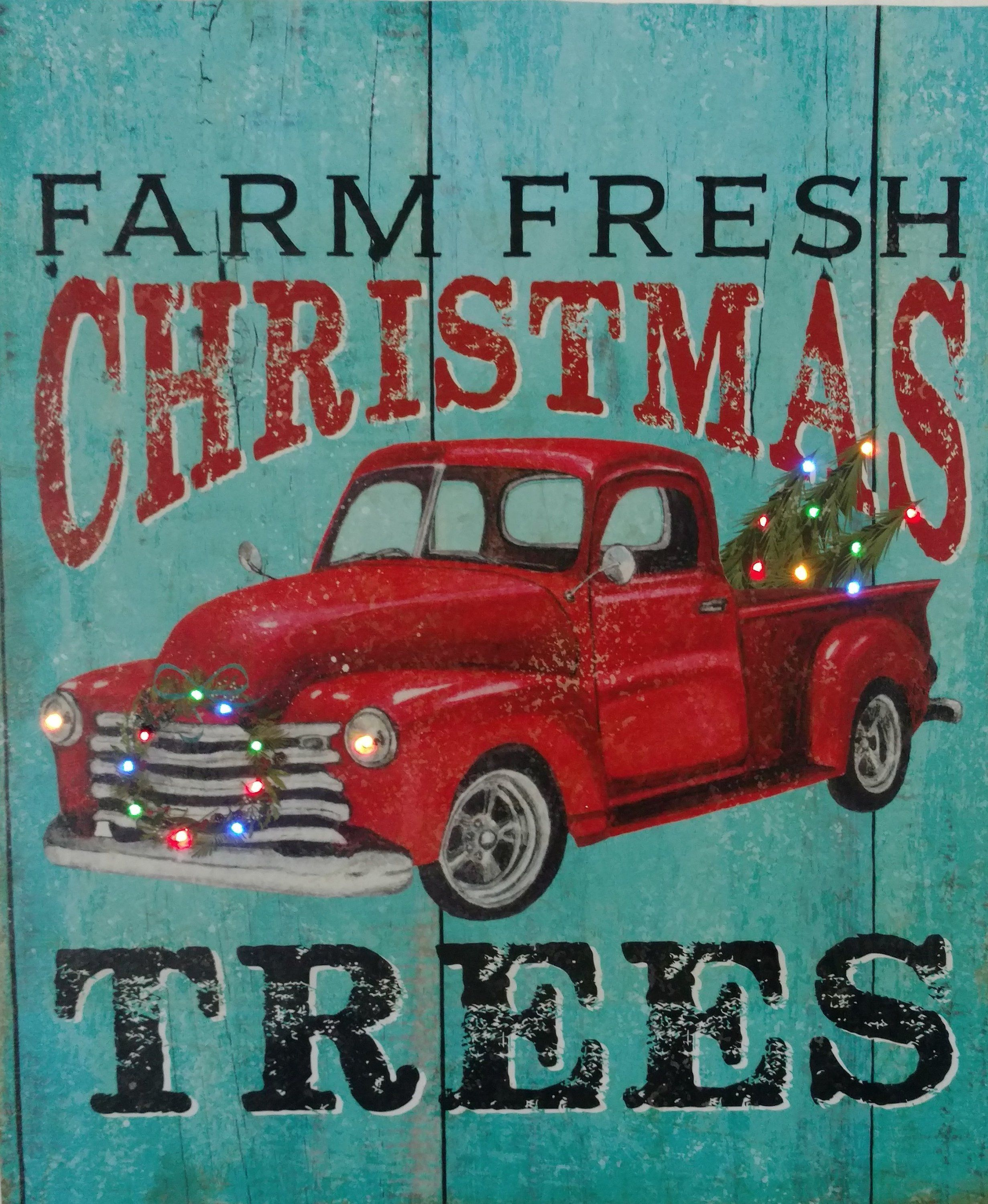 Red Truck With Color Lights Farmhouse Lightsvintage 1941 Ford Grain Christmas Trucklighted Farm By