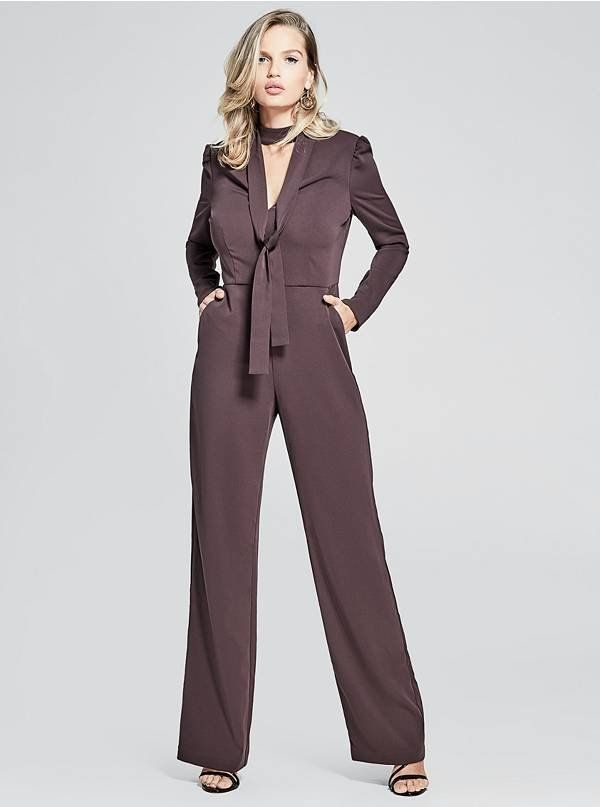 8a8bac35b89c Keep it crisp and modern in this long-sleeve jumpsuit with a choker ...