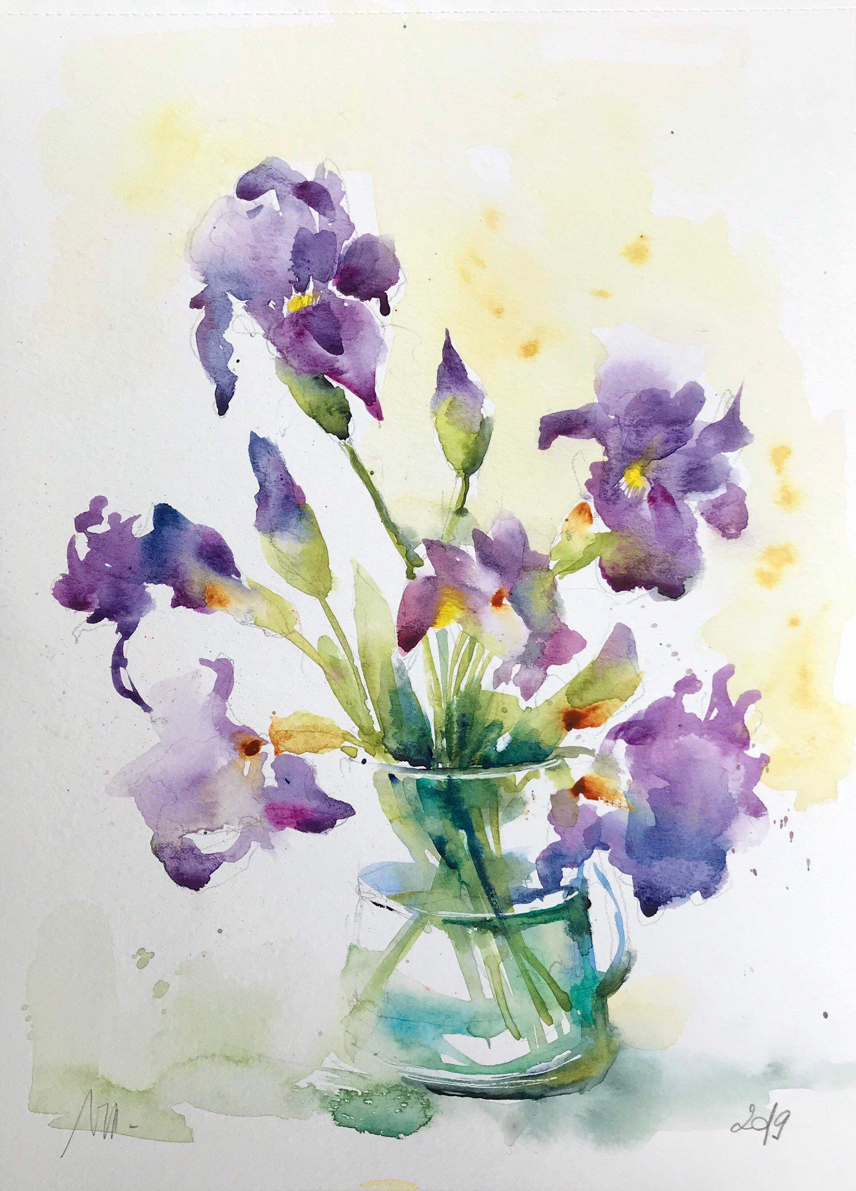Tableau Bouquet Fleur Fleur De Coton Peinture Aquarelle Sur