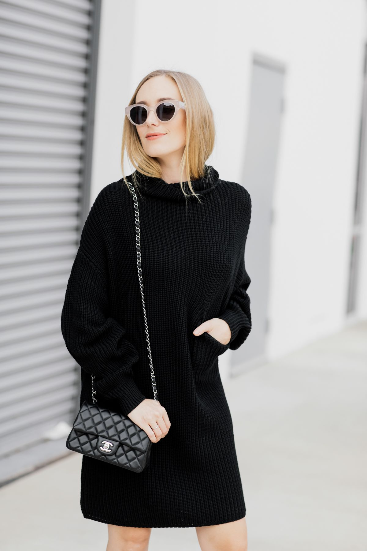 Perfect Black Knit Sweater Dress Black And White Style Personal Style Fashion Chanel Eatsleepw Black Knit Sweater Dress Fashion Sweater Dress [ 1800 x 1200 Pixel ]