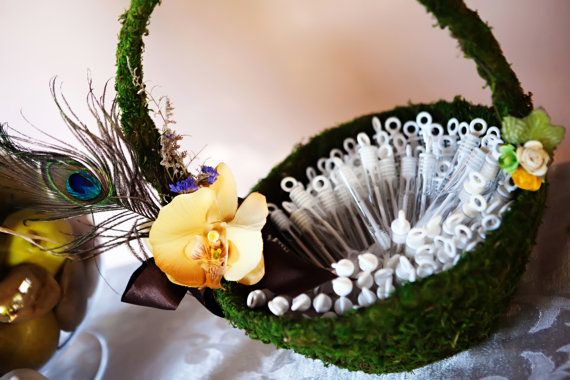 Flower girl Basket Peacock Feather and Moss